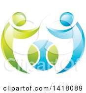 Clipart Of A Tennis Ball With Blue And Green People Royalty Free Vector Illustration by Lal Perera