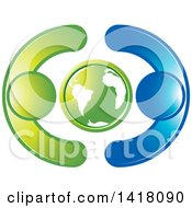 Clipart Of A Globe With Blue And Green People Royalty Free Vector Illustration by Lal Perera