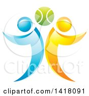 Clipart Of A Tennis Ball With Blue And Orange People Royalty Free Vector Illustration by Lal Perera