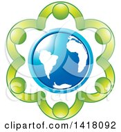 Clipart Of A Circle Of Green People Holding Hands Around A Blue Globe Royalty Free Vector Illustration