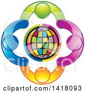 Clipart Of A Circle Of People Holding Hands Around A Globe Royalty Free Vector Illustration