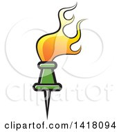 Clipart Of A Green Pin With Orange Flames Royalty Free Vector Illustration