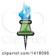 Clipart Of A Green Pin With Blue Flames Royalty Free Vector Illustration
