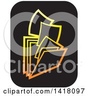 Clipart Of Gold And Black Paperwork And Filing Folders Icon Royalty Free Vector Illustration by Lal Perera
