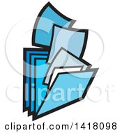 Clipart Of Blue Paperwork And Filing Folders Royalty Free Vector Illustration by Lal Perera