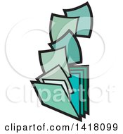 Clipart Of Green Paperwork And Filing Folders Royalty Free Vector Illustration by Lal Perera