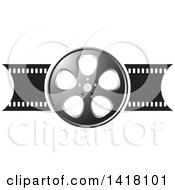 Clipart Of A Silver Black And White Film Reel Design Royalty Free Vector Illustration by Lal Perera