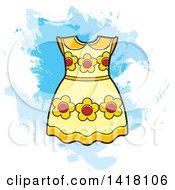 Clipart Of A Yellow Floral Frock Or Dress Over Grunge Royalty Free Vector Illustration