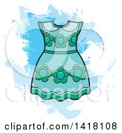 Clipart Of A Blue Green Floral Frock Or Dress Over Grunge Royalty Free Vector Illustration