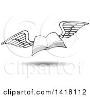 Clipart Of A Lineart Flying Book Royalty Free Vector Illustration