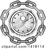 Clipart Of A Silver Wall Clock In A Chain Circle Royalty Free Vector Illustration by Lal Perera