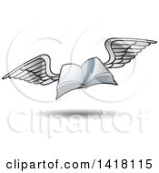 Clipart Of A Flying Book Royalty Free Vector Illustration by Lal Perera
