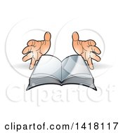 Clipart Of A Pair Of Hands And Open Book Royalty Free Vector Illustration by Lal Perera