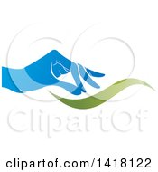 Clipart Of A Blue Hand And Green Wave Royalty Free Vector Illustration