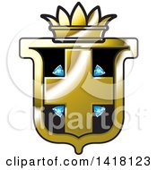Clipart Of A Black And Gold Crown Crest Royalty Free Vector Illustration