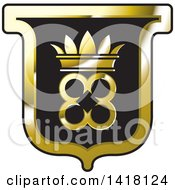 Clipart Of A Black And Gold Crown Crest Royalty Free Vector Illustration by Lal Perera