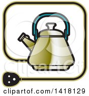 Clipart Of A Kettle Icon Royalty Free Vector Illustration by Lal Perera