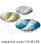 Clipart Of Plates Royalty Free Vector Illustration