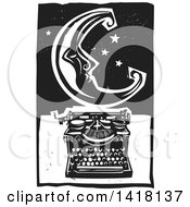 Black And White Woodcut Crescent Moon And Stars Over A Typewriter