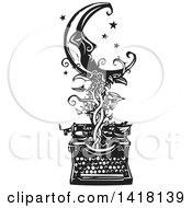 Black And White Woodcut Crescent Moon And Stars Over A Typewriter With A Vine