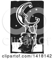 Clipart Of A Black And White Woodcut Crescent Moon And Stars Over A Wizard Royalty Free Vector Illustration by xunantunich