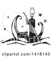 Clipart Of A Black And White Woodcut Horned Pagan God Rowing A Crescent Moon Boat Royalty Free Vector Illustration by xunantunich