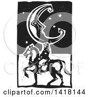 Black And White Woodcut Crescent Moon And Stars Over A Horseback King