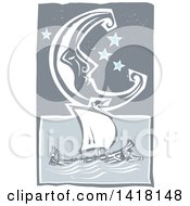 Clipart Of A Woodcut Crescent Moon And Stars Over A Greek Galley Ship Royalty Free Vector Illustration