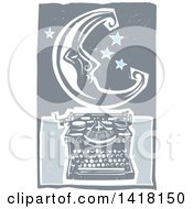 Woodcut Crescent Moon And Stars Over A Typewriter
