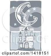 Woodcut Crescent Moon And Stars Over A Castle