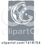 Clipart Of A Woodcut Crescent Moon And Stars Royalty Free Vector Illustration