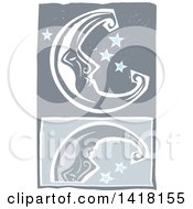 Clipart Of A Woodcut Crescent Moon And Stars With A Reflection Royalty Free Vector Illustration