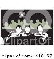 Clipart Of A Group Of Teenagers At The Movies Royalty Free Vector Illustration