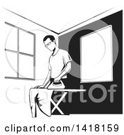 Clipart Of A Black And White Man Ironing Clothes Royalty Free Vector Illustration