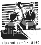 Clipart Of A Black And White Business Team Discussing During A Meeting Royalty Free Vector Illustration