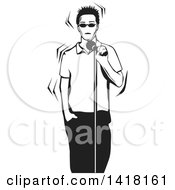 Clipart Of A Black And White Nervous Man Singing Or Talking Into A Microphone Royalty Free Vector Illustration