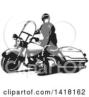Clipart Of A Black And White Police Officer On A Motorcycle Royalty Free Vector Illustration by David Rey