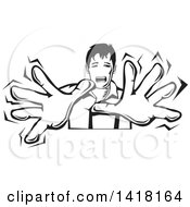 Clipart Of A Black And White Scared Man Holding Out His Hands And Screaming Royalty Free Vector Illustration