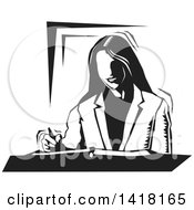 Clipart Of A Black And White Woodcut Business Woman Writing Royalty Free Vector Illustration by David Rey
