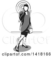 Clipart Of A Black And White Woodcut Business Woman Talking On A Cell Phone Royalty Free Vector Illustration by David Rey