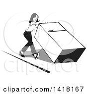 Black And White Woman Pushing A Fridge