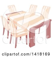 Clipart Of A Dining Room Table With A Cloth And Matching Chairs Royalty Free Vector Illustration by Pushkin