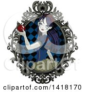 Clipart Of A Halloween Zombie Snow White Holding An Apple In A Frame Royalty Free Vector Illustration
