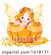 Clipart Of A Cute Red Haired Fairy Girl Holding A Wand Inside A Halloween Thanksgiving Or Autumn Pumpkin Royalty Free Vector Illustration