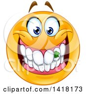 Clipart Of A Grinning Emoji Smiley Face With Food Stuck In His Teeth Royalty Free Vector Illustration
