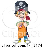 Clipart Of A Happy Boy Trick Or Treating In A Pirate Halloween Costume Royalty Free Vector Illustration