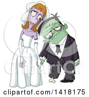 Clipart Of A Zombie Wedding Couple Royalty Free Vector Illustration by yayayoyo