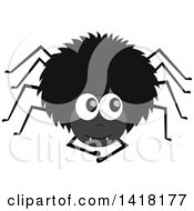 Clipart Of A Black Hairy Spider Looking Up To The Side Royalty Free Vector Illustration