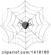 Laughing Black Spider On A Web