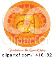 Clipart Of A Sacral Swadhisthana Chakra Symbol On An Orange Mandala Over Text Royalty Free Vector Illustration